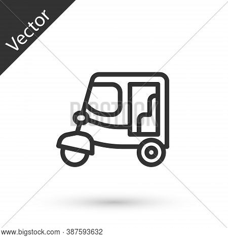 Grey Line Taxi Tuk Tuk Icon Isolated On White Background. Indian Auto Rickshaw Concept. Delhi Auto.