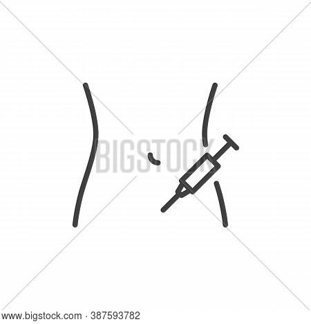 Insulin Injecting Line Icon. Linear Style Sign For Mobile Concept And Web Design. Applying Insulin I