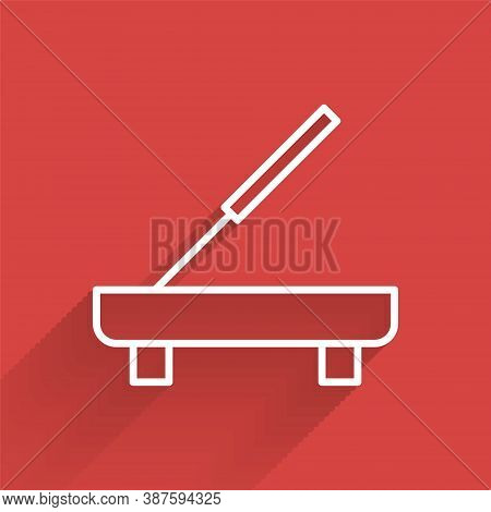 White Line Scented Spa Stick On A Wooden Stand Icon Isolated With Long Shadow. Incense Stick. Cosmet