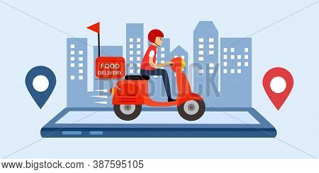 Online Food Delivery Service Vector Illustration. Delivery Boy Riding Red Motorbike On Smartphone. F