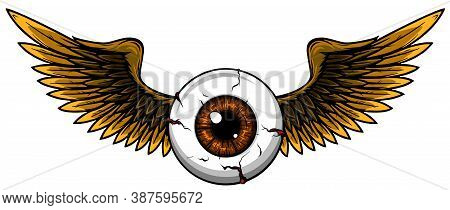 Tattoo Design Of A Flying Eyeball With Wings.
