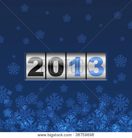 Blue counter 2013 year card with snowflakes.