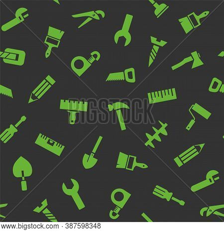 Hand Tools, Construction, Seamless Pattern, Color, Gray, Green. Green Icons On A Gray Field. Colored