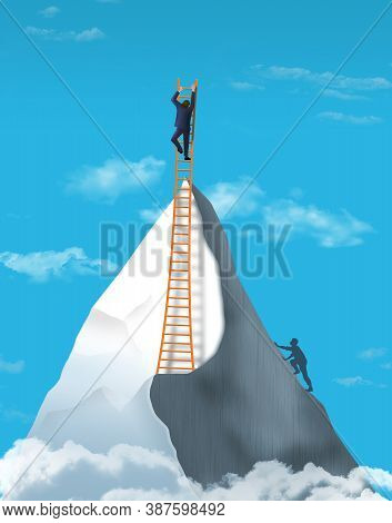 A Man Climbs To A  Mountain Peak In This 3-d Image Then Goes Even Higher Using A Ladder. Illustrates