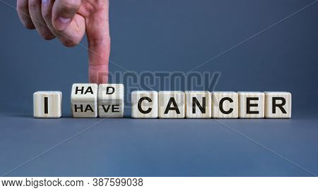 Symbol For A Succesful Cancer Treatment. Hand Turns Cubes And Changes The Expression 'i Have Cancer'