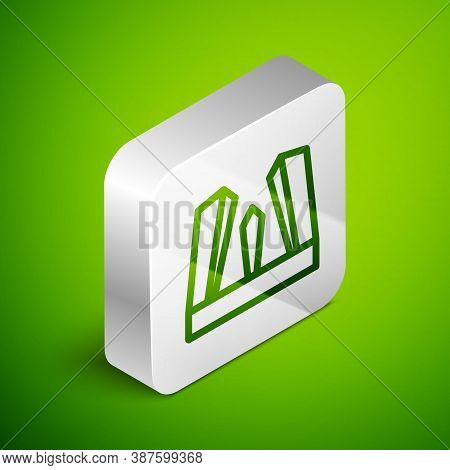 Isometric Line Gate Of Europe Icon Isolated On Green Background. The Puerta De Europa Towers. Madrid