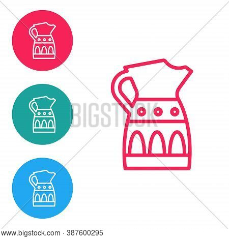 Red Line Sangria Pitcher Icon Isolated On White Background. Traditional Spanish Drink. Set Icons In
