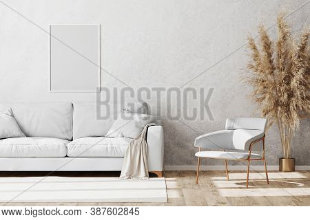 Blank White Frame Mock Up In Light Coloured Minimalistic Living Room Interior With White And Gold So