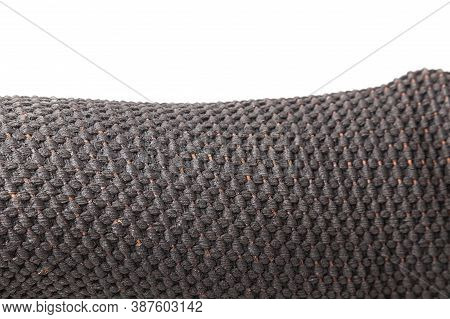 Closeup Texture Of Natural Weave Cloth In Black Color. Fabric Texture Of Natural Cotton Or Linen Tex