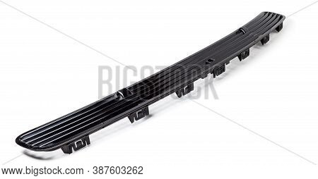 Hood Ventilation Grille With Windscreen Washer In Black On White Isolated Background. Used Spare Par