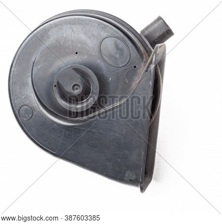 Pair Of Electric Black Plastic Horns In Retro Style - Car Horn On White Isolated Background In Photo