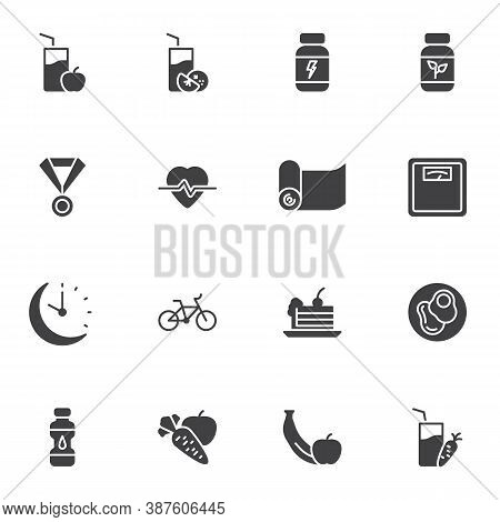 Sport Nutrition Vector Icons Set, Modern Solid Symbol Collection, Filled Style Pictogram Pack. Signs