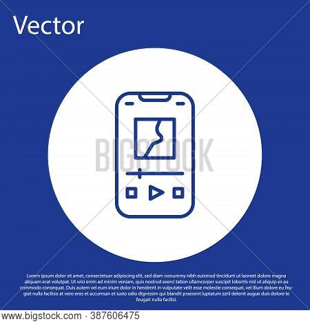 Blue Line Music Player Icon Isolated On Blue Background. Portable Music Device. White Circle Button.