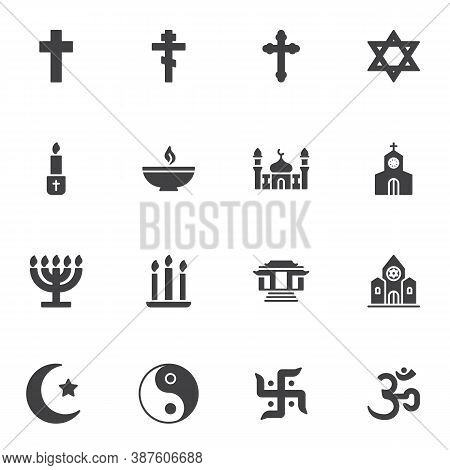 Religion Related Vector Icons Set, Modern Solid Symbol Collection, Filled Style Pictogram Pack. Sign