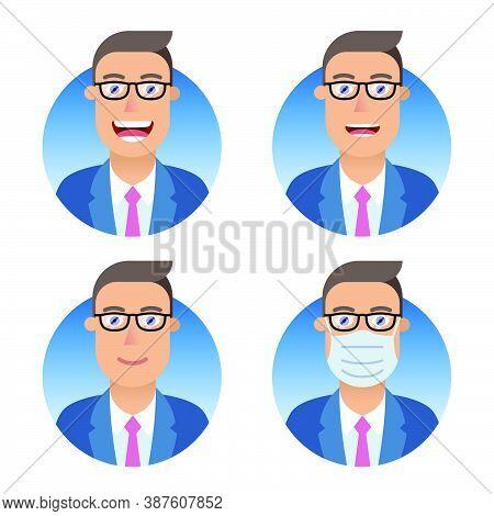 Business Avatars Set. Businessman Or Manager Different Emotions: Smile, Joy, Laughter, Attentive Ser