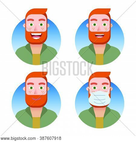 Avatars For An Account Or Business Website Set. Red-haired Bearded Man With Various Emotions: Smile,