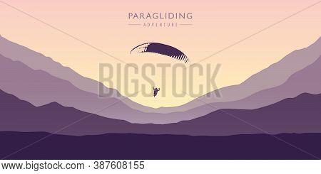 Paragliding Adventure On Purple Mountain Background Vector Illustration Eps10