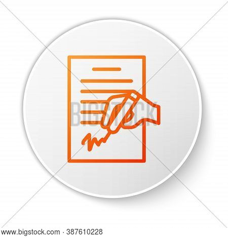 Orange Line Petition Icon Isolated On White Background. White Circle Button. Vector