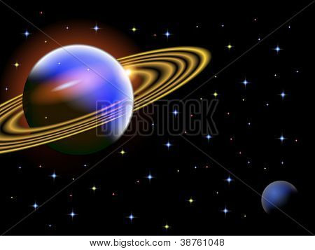 A vector illustration of a space scene with a large ringed planet saved in EPS10. The image contains a clipping mask. Double click on the image to edit all components