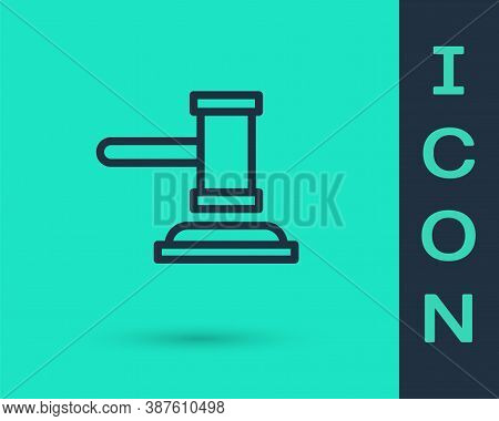 Black Line Judge Gavel Icon Isolated On Green Background. Gavel For Adjudication Of Sentences And Bi