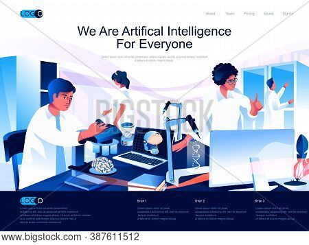 We Are Artificial Intelligence For Everyone Isometric Landing Page. Machine Learning, Smart Technolo
