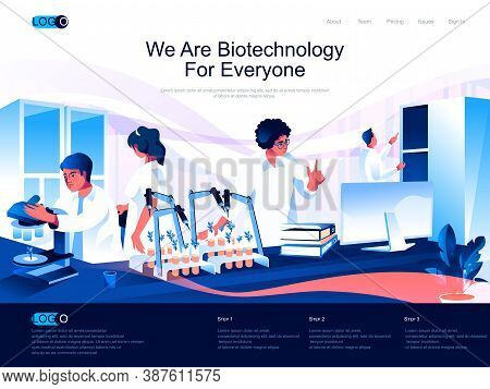 We Are Biotechnology For Everyone Isometric Landing Page. Science Research, Bio Engineering, Dna Rec