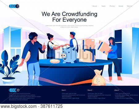 We Are Crowdfunding For Everyone Isometric Landing Page. Crowdfunding Platform For Money Donation Is