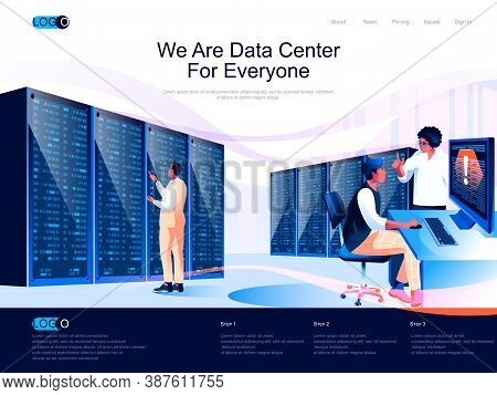 We Are Data Center For Everyone Isometric Landing Page. Hosting Platform, Data Storage Isometry Webs