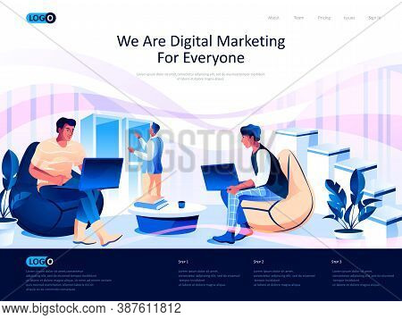 We Are Digital Marketing For Everyone Isometric Landing Page. Business Analytics Isometry Website Pa