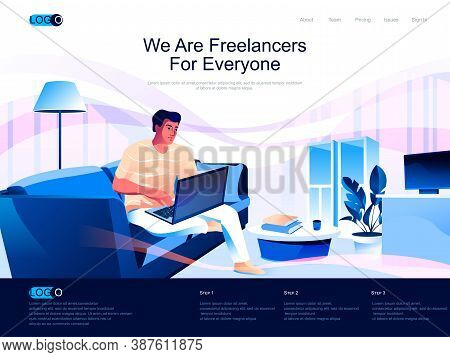We Are Freelancers For Everyone Isometric Landing Page. Self Employed Occupation, Remote Workforce I