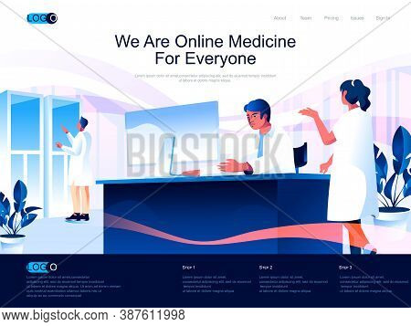 We Are Online Medicine For Everyone Isometric Landing Page. Modern Diagnostics And Treatment In Clin