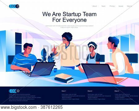 We Are Startup Team For Everyone Isometric Landing Page. Business Innovation Isometry Website. Team