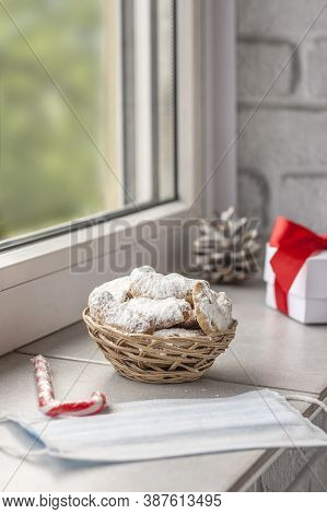 Traditional Austrian And German Crescent-shaped Christmas Pastries - Vanillekipferl - On The Windows