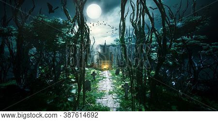 3d Render Of Creepy Foggy Forest With House At End Of Path. Graveyard And With Bats And Birds Flying