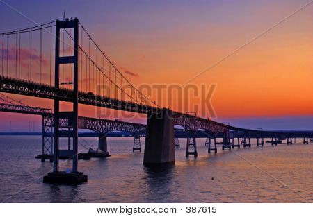 Chesapeake Bay Bridge At Dawn