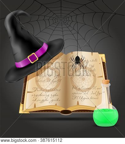 Magic Objects For Witchcraft Witch Vector Illustration Isolated On Black Background