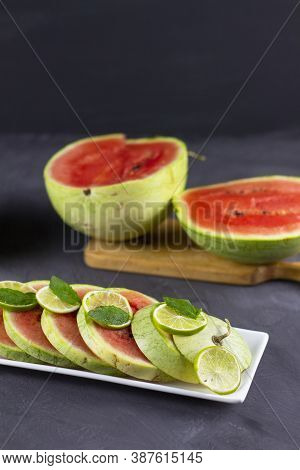 Watermelon Background With Seed And Skin Texture. Watermelon With Mint. Red Fresh Watermelon. Fruit