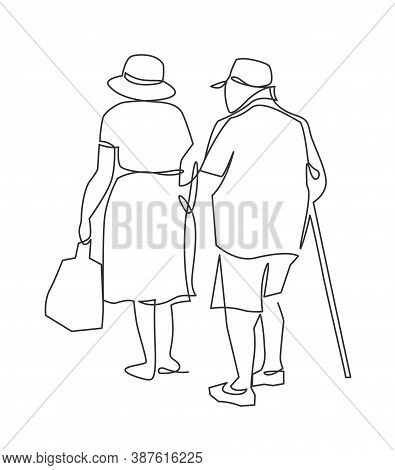 Continuous One Line Drawing Of Grandparents Go Hand In Hand View From The Back. Happy Elderly Couple