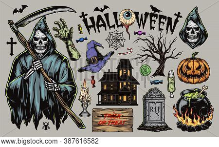 Halloween Vintage Elements Set With Grim Reaper Zombie Hand Haunted House Pumpkin Tombstone Witch Ha