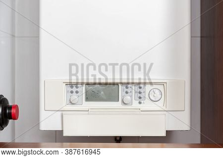 Gas Water Heater Controlling Panel Or Gas Boiler In A Home Indoor
