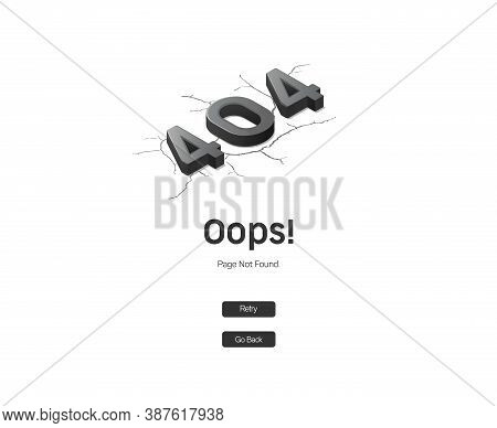 Error 404 Page. Oops! Sorry, Page Not Found. Black And White Isometric Illustration For Web.