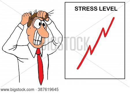 A Male Executive Pulls His Hair Out From Stress
