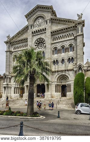 Monaco - August 13: Facade Of The Cathedral Of Our Lady Immaculate, Aka Monaco Cathedral, Iconic Lan