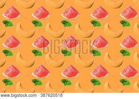 Pattern Of Fresh Fruits Isolated On Creative Colored Texture