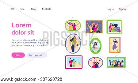 Cartoon Family Photo Frames Isolated Flat Vector Illustration. Framed Portraits And Pictures Of Happ