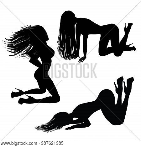 Big Collection Of Pinup Woman Silhouettes. Sexy Girl With Long Hair Standing, Siting And Dancing In