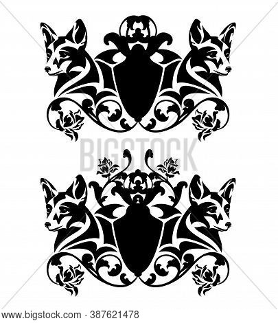 Fox Head And Heraldic Shield Among Rose Flower Decor - Black And White Vector Vintage Style Coat Of