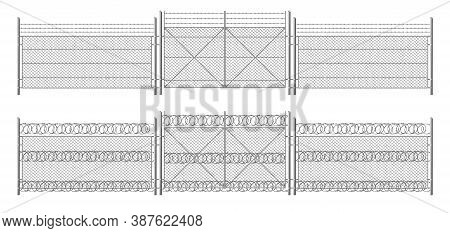Barb Wire Fence, Grid With Gate. Three Segments Silver Colored Fencing, Perimeter Protection Barrier