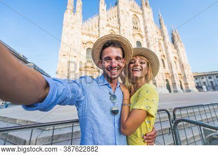 Happy Couple Visiting Milan Centre