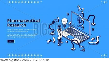 Pharmaceutical Research Isometric Landing Page. Scientist In White Robe And Glowing Light Bulb Stand